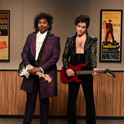 Two actors dressed as the musical artist Prince at an audition