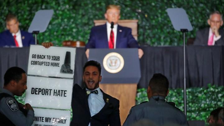Delegate Ibraheem Samirah protesting President Donald Trump's speech