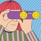 An illustration of a person looking through binoculars with smiley-face lenses