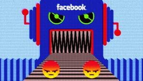 Illustration of a machine eating mad emojis