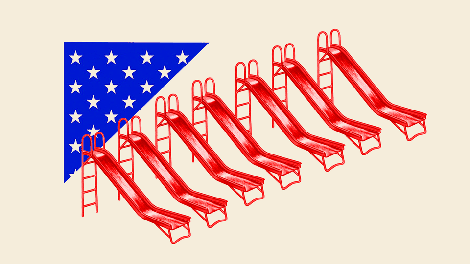 An illustration of playground slides stylized in the colors of the American flag.