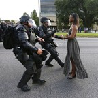 This photo of Ieshia Evans meeting police in full riot gear in Baton Rouge, Louisiana, went viral in 2016.