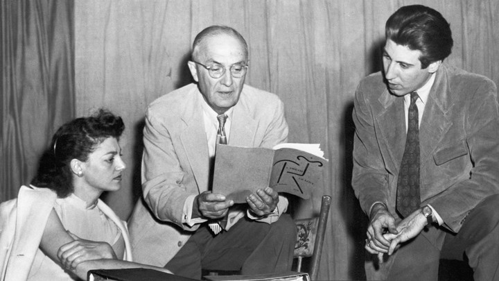 The poet William Carlos Williams reads to two young actors