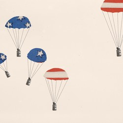 Illustration of parachutes with vaccine vials.