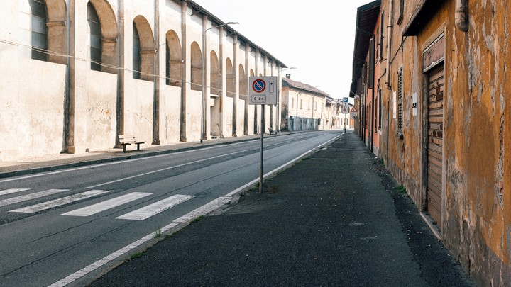 An empy street is seen in San Fiorano, Italy.
