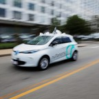 A self-driving car is pictured.