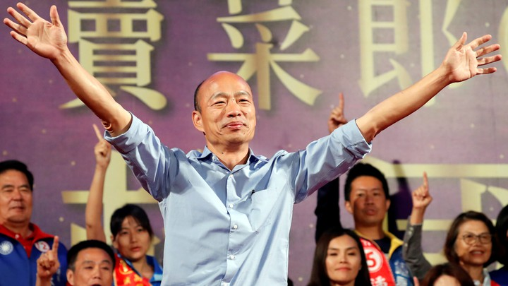 Han Kuo-yu attends a campaign rally ahead of the Kaohsiung mayoral election in November.