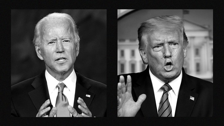 Side-by-side photos of former Vice President Joe Biden and President Donald Trump