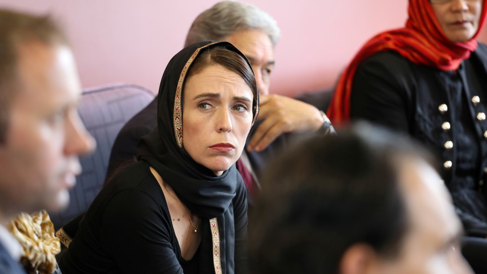 New Zealand Prime Minister Jacinda Ardern meets representatives of the Muslim community at Canterbury refugee center in Christchurch.