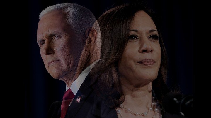 Photo illustration of Mike Pence and Kamala Harris