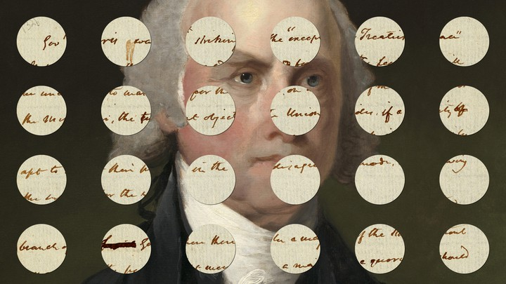 James Madison's notes on impeachment superimposed over a portrait of Madison