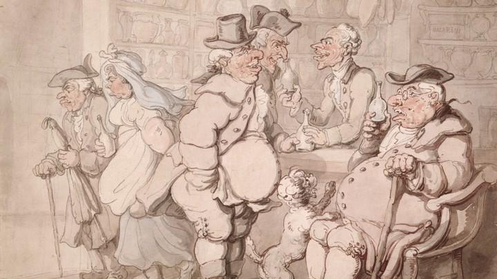 A cartoon of colonial men visiting an apothecary