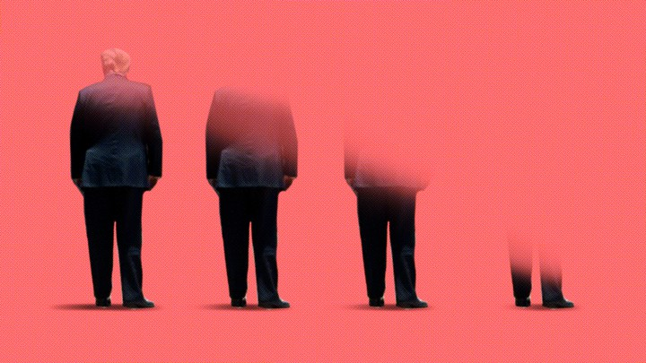A gradually disappearing Donald Trump, seen from behind