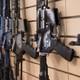 AR-15 rifles on display