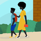 An illustration of a black mother walking her son to school.
