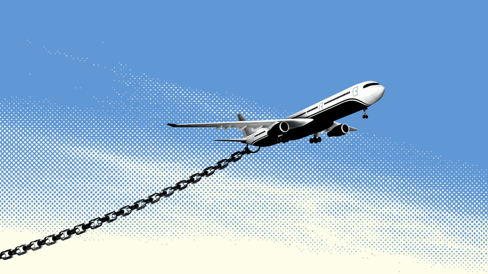 Illustration of a plane with heavy chains