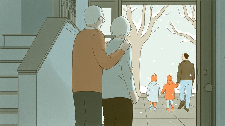An illustration of an old couple watching a young man with his two kids walk away.