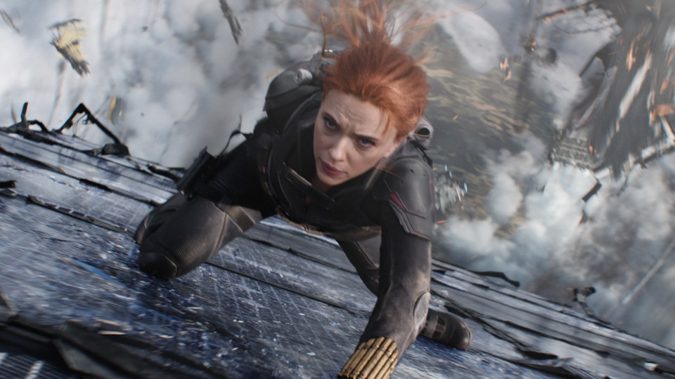 Natasha Romanoff, a.k.a. Black Widow, in a midair action sequence
