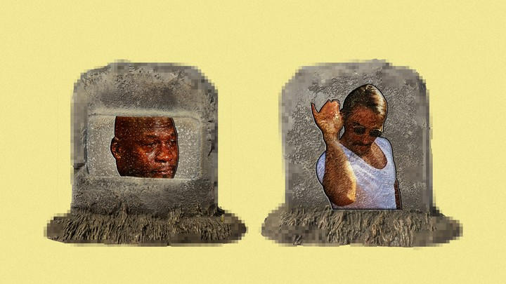 Pixelated headstones with Crying Jordan and Salt Bae memes imposed on them
