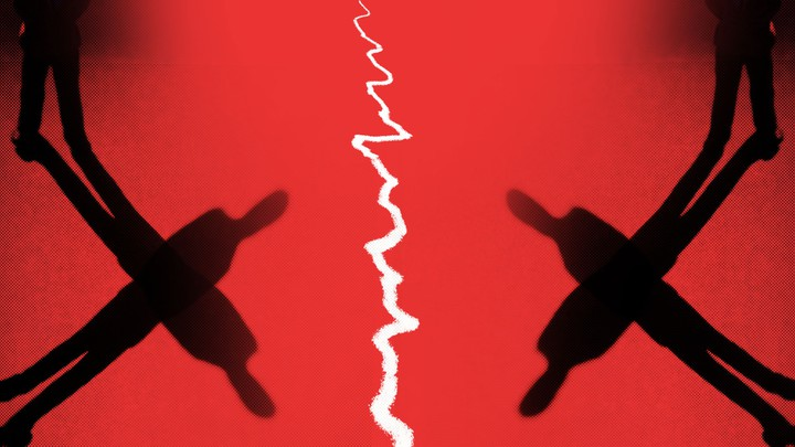 silhouettes of two men with a jagged line down the middle