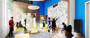 A rendering of a community room with a circle of chairs and people writing on a whiteboard.