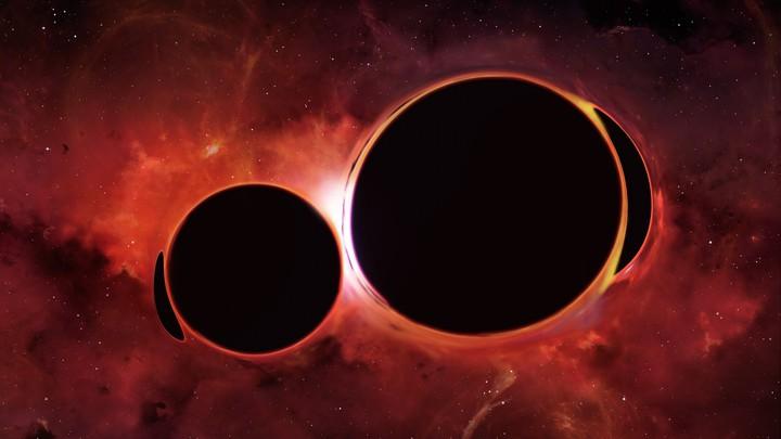 A blurry image of a black hole