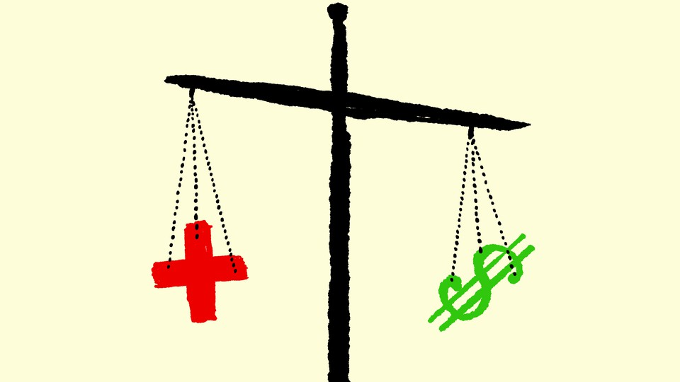 Artwork of a scale balancing a red cross and a green dollar sign