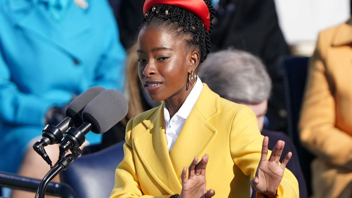 """Amanda Gorman, a National Youth Poet Laureate, recites her poem """"The Hill We Climb"""" during the inauguration of Joe Biden on January 20, 2021."""