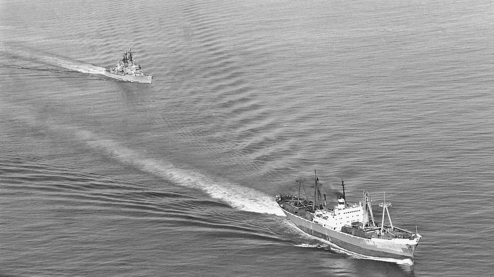 A U.S. Navy guided missile ship trails a Soviet vessel headed for Casilda, Cuba, on November 10, 1962.