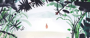 Illustration of a figure standing in the water on a secluded beach in front of a mountain