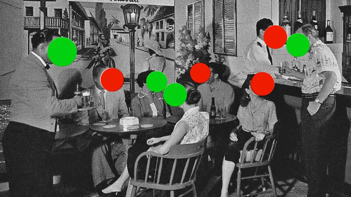 A black-and-white photograph of adults sitting around a restaurant table. Each person has either a red or green dot covering their face.