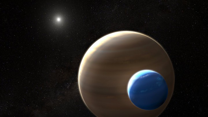 An artist's impression of an exomoon around Kepler-1625b, a planet in another solar system