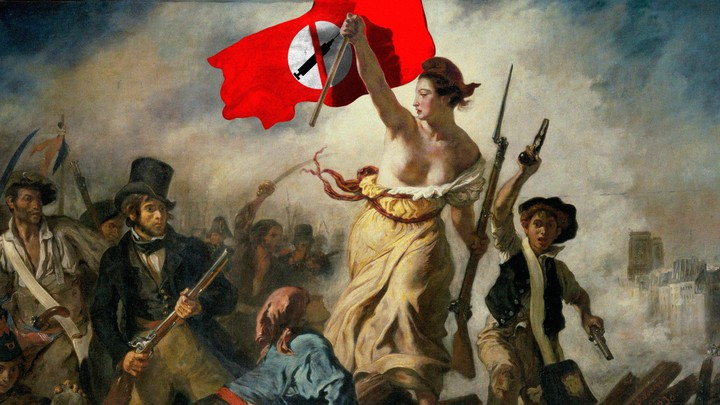 A painting shows a woman carrying an anti-vaccine flag and leading men to battle.