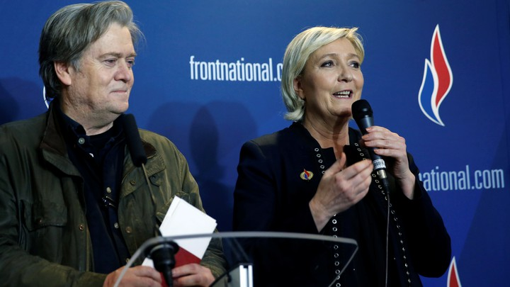 National Front party leader Marine Le Pen with former White House chief Strategist Steve Bannon