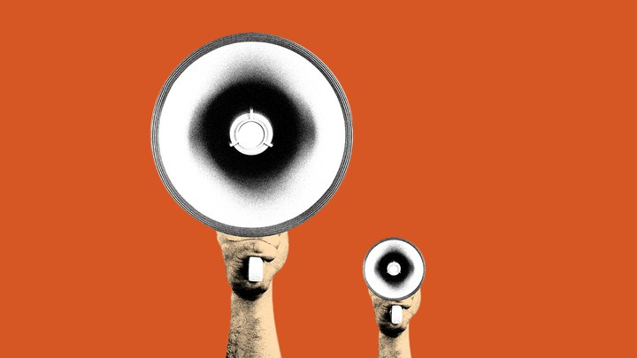 An illustration of a large megaphone and a small megaphone
