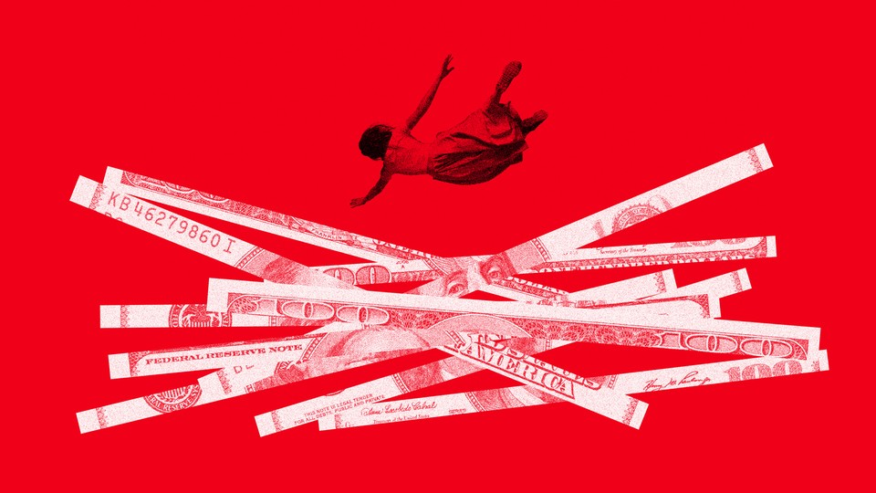 a woman plummeting into a pile of shredded U.S. currency