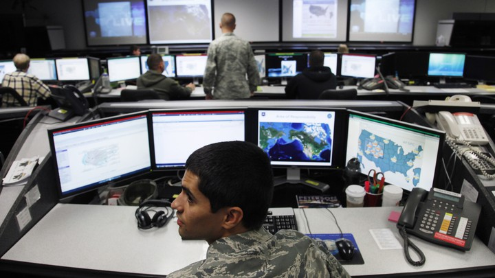 The Air Force Space Command Network Operations & Security Center at Peterson Air Force Base in Colorado Springs, Colorado