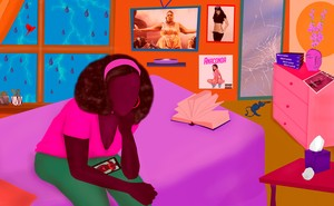 an illustration of a Black woman sitting on a bed with posters of Cardi B and Lizzo behind her
