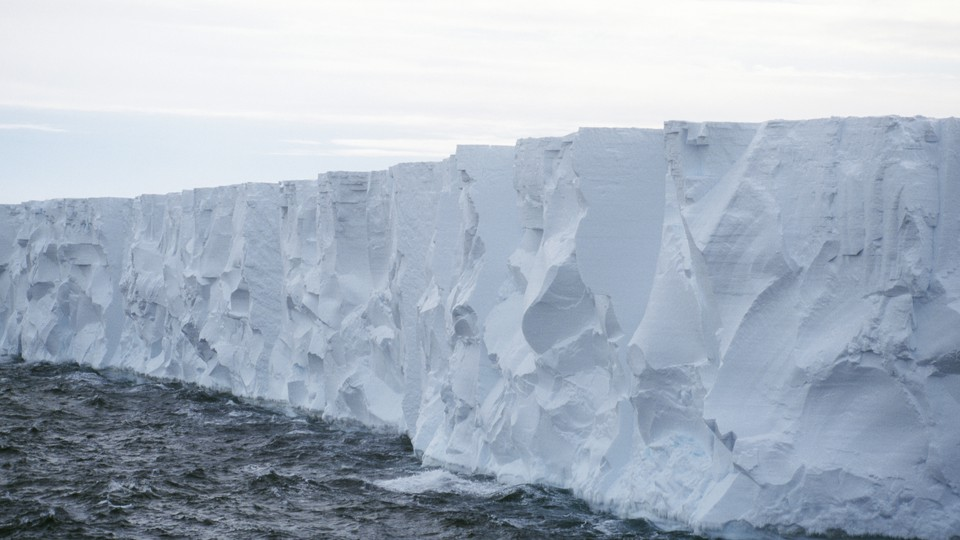 An ice cliff in the Ross Ice Shelf in Antarctica