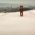 Fog swallows up the Golden Gate Bridge in San Francisco