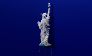 illustration of Statue of Liberty coated with white dripping paint