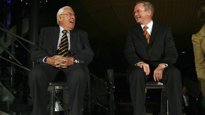 Ian Paisley and Martin McGuinness share a laugh during a 2008 event.