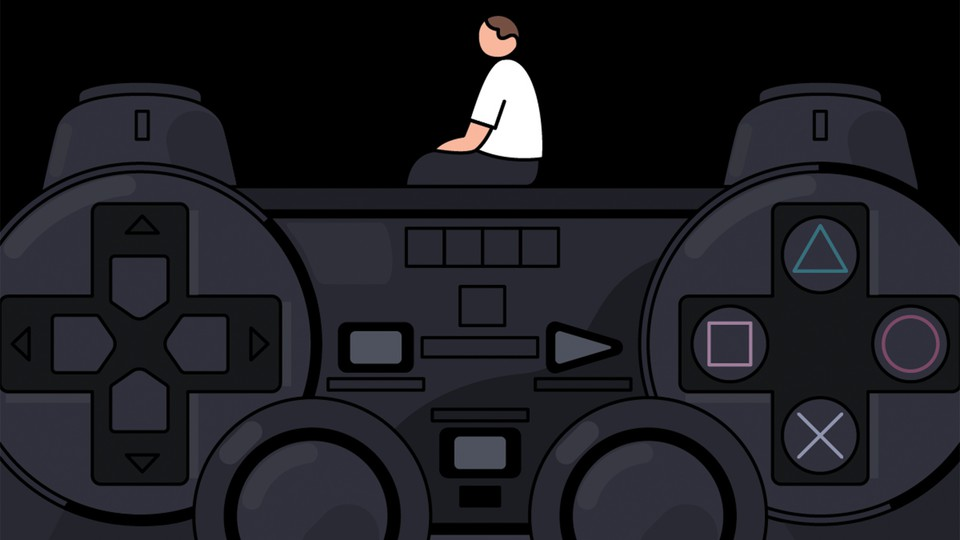 Man sits on top of video game remote.