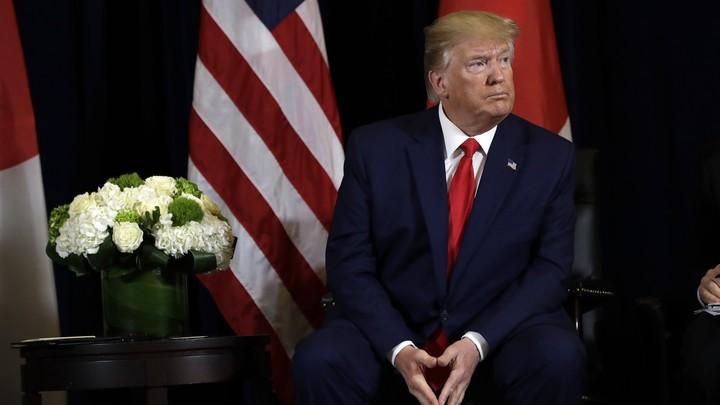 A close-up of Donald Trump's face