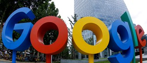 The Google logo outside its Beijing campus