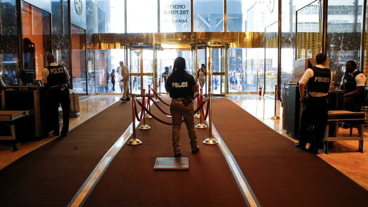 A security checkpoint inside the lobby of Trump Tower