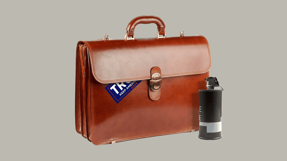 An illustration of a briefcase with a Trump sticker and a smoke canister
