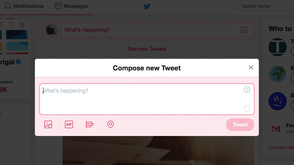 """A """"Compose New Tweet"""" pop-up on the Twitter interface"""