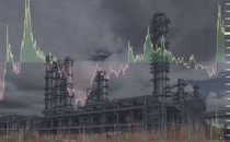 A line chart superimposed over an atmospheric photo of an oil refinery