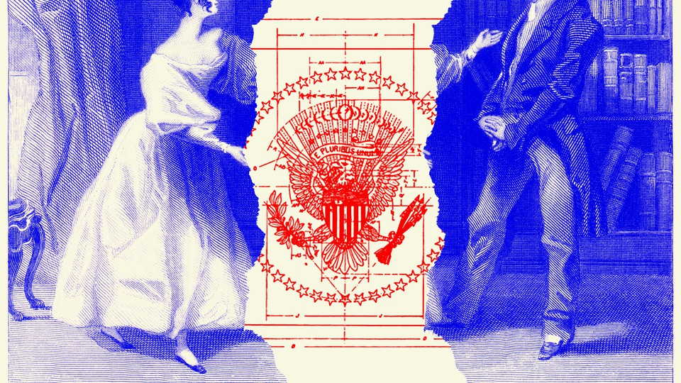 An illustration of Jane Austen and the presidential seal